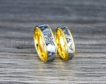 FREE SHIPPING Free Custom Engraving 2 Piece Couple Set 8mm U0026 6mm Tungsten  Bands With Step