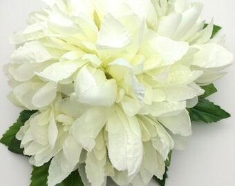Handmade Beautiful White Double Chrysanthemum Hair flower Clip