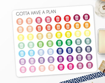 Planner Stickers Trash Can Icon Dot for Erin Condren, Happy Planner, Filofax, Scrapbooking