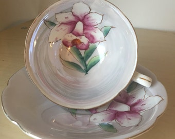 Shafford Japan Teacup and Saucer, Lustreware Grey Tea Cup and Saucer, Hand Painted Pink Flower, Japanese Fine China