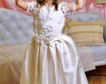 Girls bridesmaid dress long/ Wedding dress set/ White flower dress/ Children First Communion dress/ White lace ceremony dress/ Church dress