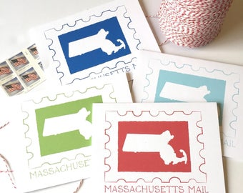 Massachusetts Card - Massachusetts Mail - Boston - Massachusetts Gift - Massachusetts Art - Map - Mass Love - Mass Notecard - State Love