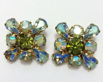 Vintage Blue Green Rhinestone Clip-on Earrings