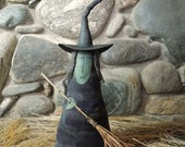 Winifred Witch with Broom Soft Sculpture Doll purple stripe