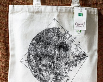 Moon Tote Bag Hand Drawn Canvas Bag 12oz Strong Cotton Bag Organic Cotton Tote Fashion Illustration Abstract Drawing Geometric Tote Bag