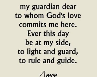 Angel of God Prayer Print, Guardian Angel Prayer Print, Christian Art Print, Catholic Prayer, Christian Wall Art, Word Art, Angel Print