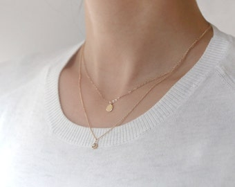 Solid Gold Initial Necklace, Round Charm Necklace, Personalized Necklace, Name Necklace