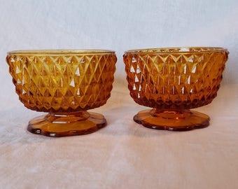 AMBER DIAMOND POINT Candle Votive Indiana Glass Dish Vintage Retro