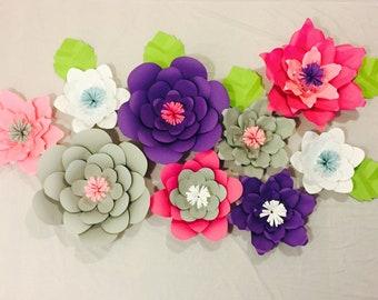Large Paper Flowers,set of 9 flowers, event decor, backsdrop, nursery, decor