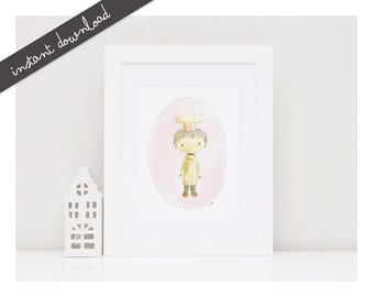 CHEF Baby Boy Print- Baby Room Decor-Printable Nursery Art-Nursery Decor-Kids Room Wall Decor-Kids Illustration-Kids Poster-Watercolor Art