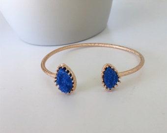 Royal Blue Druzy Cuff Bracelet, Druzy Bracelet, Blue Druzy, Stone Cuff Bracelet, Gold Druzy Cuff Bracelet, Cuff Bracelet