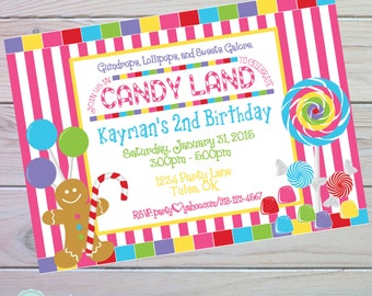 Candy Land Invitation | Candy Land Party | Candyland Invitation | Candyland Birthday | Sweet Shoppe Party | Candy Party | The Party Darling