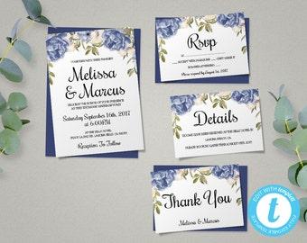 Blue Peony Wedding Invitation Template Set, Floral Wedding Invite, Printable Invitation, Easy to Edit, Blue Peonies Wedding Theme