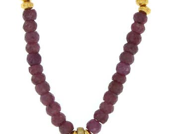 Indian Ruby and Rose Quartz Pendant Necklace
