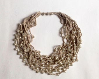 Crochet NECKLACE Long Statement necklaces Long beaded necklace Bead crochet Multi strand necklace Knitted Linen jewelry Women gifts Pearl