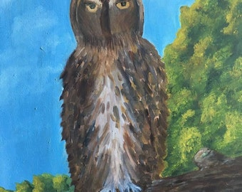 Oil Painting on Canvas, Wall Art, Owl