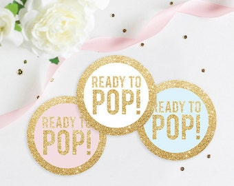 Ready To Pop Baby Shower Gold Glitter Favor Tag, Popcorn Tag, Baby Shower  Tag