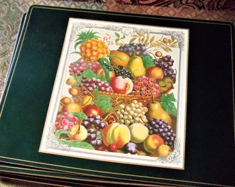 vintage large placemats set of 8 colorful fruits dining table matscoasters cork. beautiful ideas. Home Design Ideas