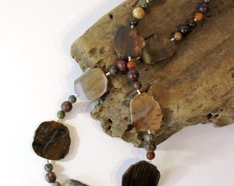 "20"" Petrified Wood Necklace, Earth Tone Statement Necklace with Red Creek Jasper and Hill Tribe Silver, Unique Stone Jewelry"