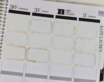 Marble Half Box Planner Stickers for Erin Condren, Half Boxes, Half Box Stickers, Marble Half Boxes, Marble Stickers