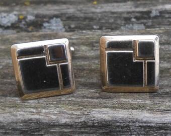 Vintage Abstract Gold Square Cufflinks. Gift for Men, Dad, Groom, Groomsmen, Husband, Wedding, Anniversary, Birthday