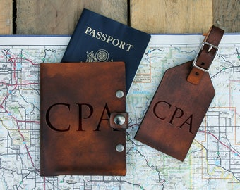 Genuine Leather Travel Set, Personalized Luggage Tag/Passport, Engraved Luggage Tag/Passport , Custom Luggage Tag/Passport -- TS-DB-CPA
