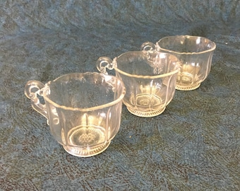 Vintage Cambridge Glass Martha Punch Cups, Set of 3