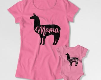 Mommy And Son Matching Outfits Mother Daughter T Shirt Mother Daughter T Shirt Gifts For New Mom Mama Llama Baby Llama Bodysuit MAT-853-854