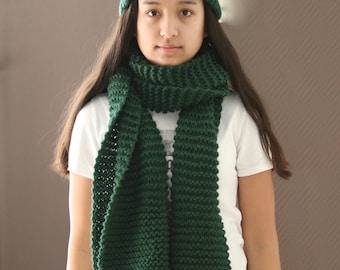 Knit Hat, Beanie, Chunky Hat, Chunky Beanie ,Green Beanie, Classic Cuffed Beanie in Green