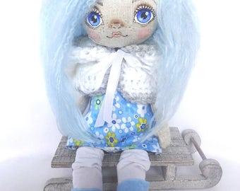 Handmade doll, cloth doll, rag doll, heirloom doll, decorative doll, linen doll, hood ,blue hair, fantasy, art doll, winter, pixie doll