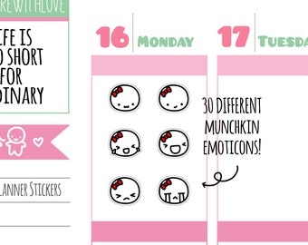 Munchkins - 30 Different Emoticon Faces Planner Stickers (M230)