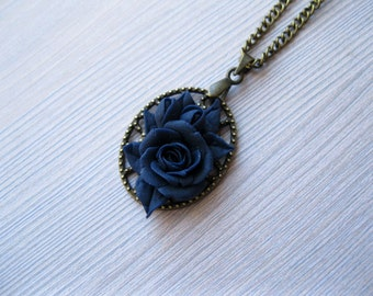 Dark blue necklace for girlfriend gift/for/friend necklace Rose necklace Polymer clay necklace Antique necklace Retro jewelry Art nouveau
