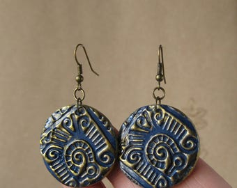 Blue and gold earrings Round earring Tribal earrings african jewelry african earrings egyptian jewelry egyptian earrings persian jewelry