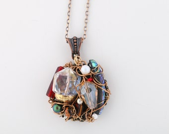 Boho wire wrapped pendant/Necklaces/Jewelry/OOAK/Gift for her/ Edgy Statement Necklace/Found Objects/Unique Beads/Swarovski Pearls