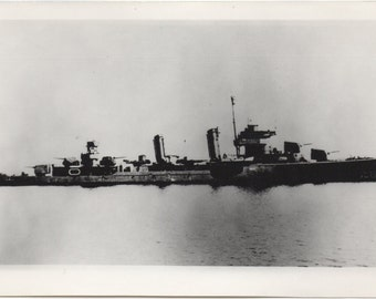 Vintage Photograph WWII US Navy Battleship - Official US Navy Photo - Black & White - Maritime Wartime World War 2 Military Photographs
