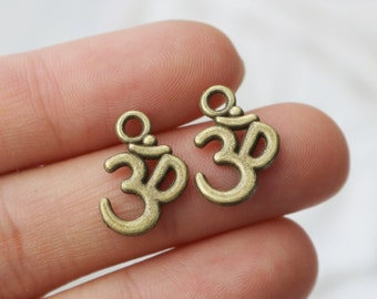 Antique Bronze, Bronze Charm, Bronze Ohm Charm, Bronze Yoga Charm, Bronze Yogi Charm, Bronze Pendant, Yoga Charm, Set of 25, Bronze Charms,