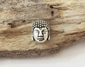 Silver Buddha Bead / Buddha Head Bead / Double Sided Zen Bead / 9 mm / Silver Buddha / BE44