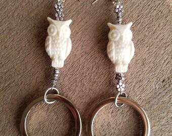 Ivory Owl Hematite Earrings