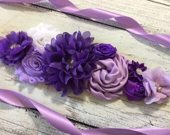 Purple,Lavender and White Maternity Sash,Shades of purple Maternity Sash,Flower Girl Sash  ,Baby Shower Sash,Pregnancy Belt, Vintage Belt