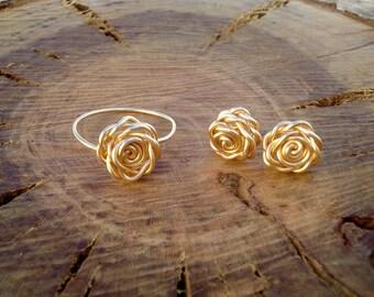 Golden Rose Ring & Earrings Set, Wire Wrapped Rose Set, Gold Rose Set