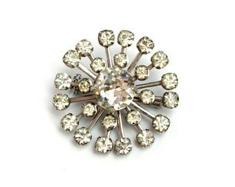 Vintage 1950s Starburst Flower Clear Rhinestone Brooch in Silver Tone Metal Atomic