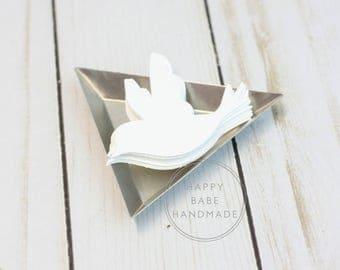 "White Paper Bird, 2""x2.5"", 25 Paper Birds, White Birds, Paper Dove, Paper Birds, Die Cut Birds, Hand Punched, Bird Confetti, White Dove"