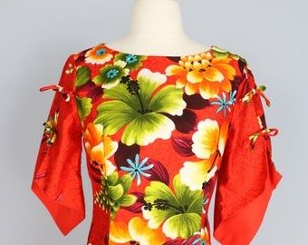 1970s Hawaiian Floral Summer Maxi Dress Hibiscus Tropical Slit Tie Sleeve Orange Green Blue Red Yellow White Size Small Or Medium Made In US
