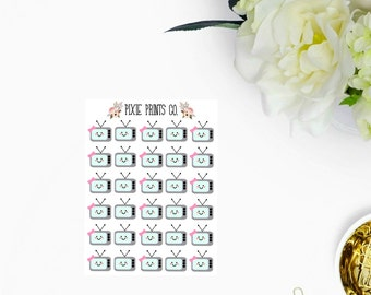 Mini TV Planner Stickers for use with, erin condren, life planner, mambi, happy planner