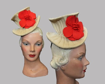 RESERVED 1940s Cream Tilt Doll Hat with Red Flower Helen Made in Mexico