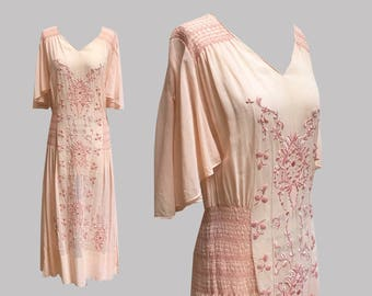 1920s Pink Embroidered Peasant Dress