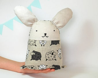 Easter bunny , baby Easter basket , cuddle toddler rabbit toy , soft sleeping bunny toy , linen stuffed bunny , eco animal toys , with sheep