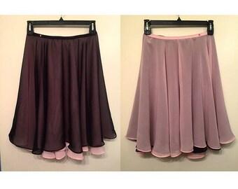 REVERSABLE Knee Length Chiffon Ballet Skirt (Hook and Eye Closure)