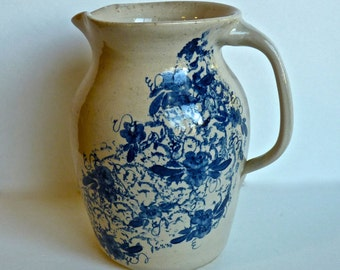 P.R. Storie POTTERY ~ Marshall Texas ~ Large Pitcher ~ Handmade Cobalt Blue Sponge Design With Florals ~ Original Signed S.S. 1990