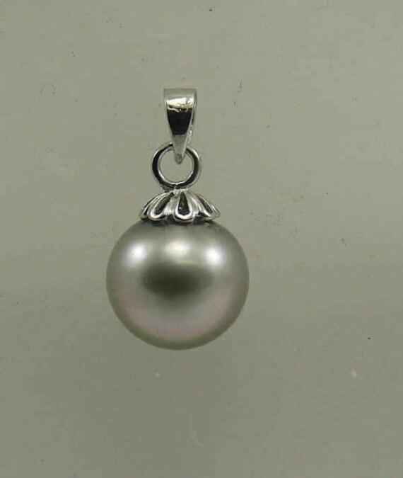 Tahitian 11.5 mm x 10.9 mm Pearl Pendant 14k White Gold